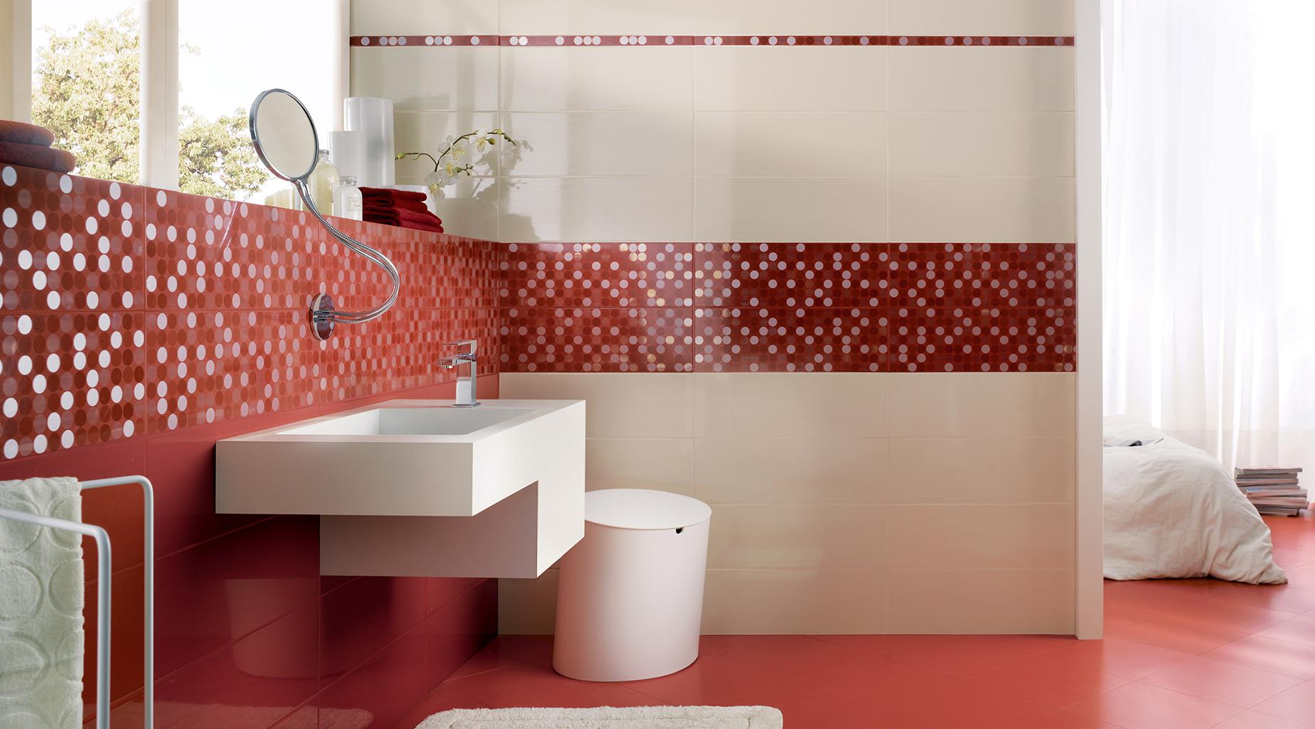 Piastrelle bagno bordeaux della collezione lavanderia piastrelle